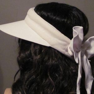 Cute Wide Brim Visor White Velcro Bow Tie Closure